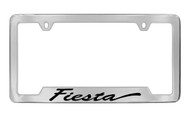 Ford Fiesta Script Bottom Engraved Chrome Plated Solid Brass License Plate Frame Holder with Black Imprint