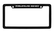 Ford Taurus Sho Top Engraved Black Coated Zinc License Plate Frame Holder with Silver Imprint