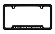 Ford Taurus Sho Bottom Engraved Black Coated Zinc License Plate Frame Holder with Silver Imprint