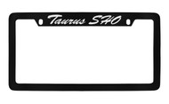 Ford Taurus Sho Script Top Engraved Black Coated Zinc License Plate Frame Holder with Silver Imprint