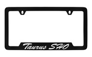 Ford Taurus Sho Script Bottom Engraved Black Coated Zinc License Plate Frame Holder with Silver Imprint