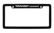 Ford Transit Connect Top Engraved Black Coated Zinc License Plate Frame Holder with Silver Imprint
