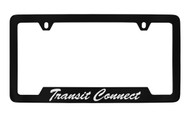 Ford Transit Connect Script Bottom Engraved Black Coated Zinc License Plate Frame Holder with Silver Imprint