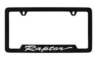 Ford Raptor Script Bottom Engraved Black Coated Zinc License Plate Frame Holder with Silver Imprint