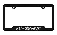Ford C-Max Script Bottom Engraved Black Coated Zinc License Plate Frame Holder with Silver Imprint