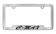 Ford C-Max Script Bottom Engraved Chrome Plated Solid Brass License Plate Frame Holder with Black Imprint