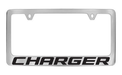 dodge charger block letters license plate frame tag holder with black imprint - Dodge License Plate Frame