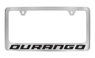 Dodge Durango Chrome Plated Solid Brass License Plate Frame Holder with Black Imprint