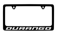 Dodge Durango Black Coated Zinc License Plate Frame Holder with Silver Imprint