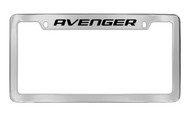 Dodge Avenger Chrome Plated Solid Brass Top Engraved License Plate Frame Holder with Black Imprint