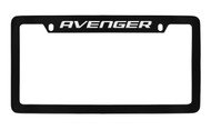 Dodge Avenger Black Coated Zinc Top Engraved License Plate Frame Holder with Silver Imprint