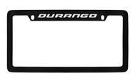Dodge Durango Black Coated Zinc Top Engraved License Plate Frame Holder with Silver Imprint