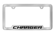 Dodge Charger Chrome Plated Solid Brass Bottom Engraved License Plate Frame Holder with Black Imprint
