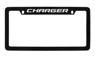 Dodge Charger Black Coated Zinc Top Engraved License Plate Frame Holder with Silver Imprint