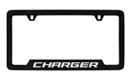 Dodge Charger Black Coated Zinc Bottom Engraved License Plate Frame Holder with Silver Imprint