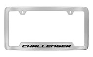 Dodge Challenger Chrome Plated Solid Brass Bottom Engraved License Plate Frame Holder with Black Imprint