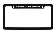 Dodge Challenger Black Coated Zinc Top Engraved License Plate Frame Holder with Silver Imprint