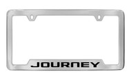 Dodge Journey Chrome Plated Solid Brass Bottom Engraved License Plate Frame Holder with Black Imprint