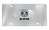 Ram Wordmark and Logo Oval Emblem Attached To a Stainless Steel Plate