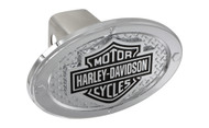 Harley-Davidson Standard 2' Hitch Cover with Bar & Shield with Texture Back Ground & 4 Rivets Around