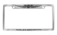 Harley-Davidson 2 Top Holes Frame Engraved Bar & Shield with Wings On Top, Harley-Davidson On Bottom Chrome Brass Frame Black Epoxy Filled