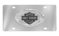 HARLEY-DAVIDSON FRONT STAINLESS STEEL PLATE ATTACHED BAR & SHIELD OVAL EMBLEM WITH TEXTURE BACK GROUND & 4 RIVETS AROUND