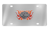 Harley-Davidson Front Stainless Steel Plate Attached 3D Bar & Shield Logo with 2 Color Flames Emblem