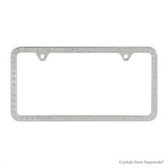 Premium Chrome Plated Zinc License Plate Frame Holder Embellished with Swarovski Crystals (LFZCY301-2H)