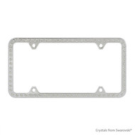 Premium Chrome Plated Zinc License Plate Frame Holder Embellished with Swarovski Crystals (LFZCY301-4H)