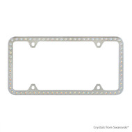 Premium Chrome Plated Zinc License Plate Frame Holder Embellished with Swarovski Crystals (LFZCY301-AB-4H)