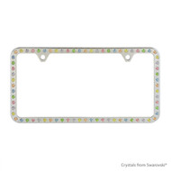 Premium Chrome Plated Zinc License Plate Frame Holder Embellished with Swarovski Crystals (LFZCY301-M-2H)