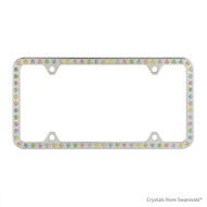 Premium Chrome Plated Zinc License Plate Frame Holder Embellished with Swarovski Crystals (LFZCY301-M-4H)
