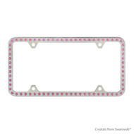 Premium Chrome Plated Zinc License Plate Frame Holder Embellished with Swarovski Crystals (LFZCY301-P-4H)