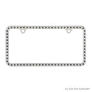 Premium Chrome Plated Zinc License Plate Frame Holder Embellished with Swarovski Crystals (LFZCY301-SB-2H)