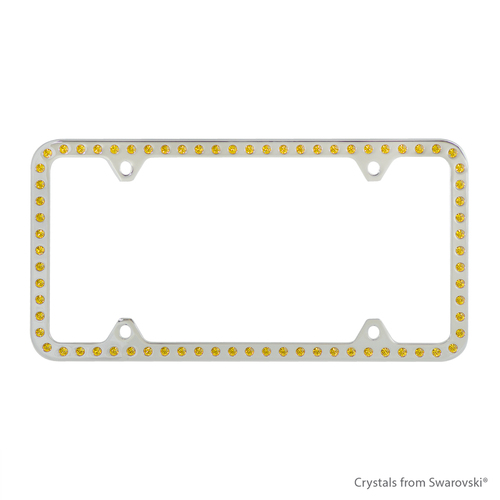 Premium Chrome Plated Zinc License Plate Frame Holder Embellished ...