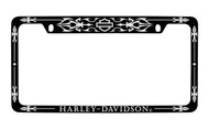 Harley-Davidson Black Frame Chrome Imprints Bar & Shield Top Harley-Davidson Wordmark Bottom Chrome Imprint On a  Black Powder Coated Frame