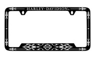 Harley-Davidson Black Frame Chrome Imprints Harley-Davidson Wordmark Top Bar & Shield Bottom Chrome Imprint On a  Black Powder Coated Frame