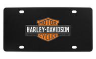 Harley-Davidson Black Front Plate 3 Colors Vintage Bar & Shield Logo Emblem with Trade Mark Black Orange & White Zinc Emblem