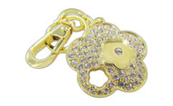 Chrome Plated Flower & Cut-Out Flower with Clear Czechoslovakia Crystals Key Chain