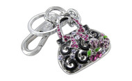 Chrome Plated Ribbon Purse with Black & Green Epoxy Pink Purple Fuchsia Czechoslovakia Crystal Key Chain