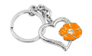 Heart with Orange Flower with Clear Crystals (KLW026-O)