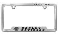 2 Top Holes License Frame —Engraved Freedom /Top, Bar & Shield Logo –Hd/Bttm Chrome Brass Frame