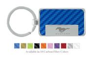 Ford Mustang Logo Carbon Fiber Vinyl Inlay Rectangle Key Chain