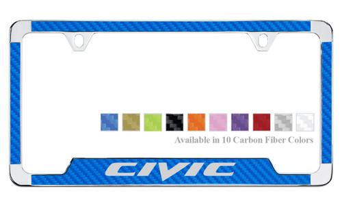 Honda Civic License Plate Frame with Carbon Fiber Vinyl Insert