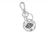 Harley-Davidson® Carbon Fiber Round Bar & Shield Logo Key Chain