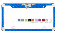 3D Ford Pony Emblem License Plate Frame with Carbon Fiber Insert