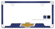 CHROME PLATED LICENSE PLATE FRAME WITH SIMULATED BRUSHED ALUMINUM VINYL INLAYS AND 3D CHEVY BOWTIE