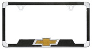 CHROME PLATED LICENSE PLATE FRAME WITH BLACK VINYL INLAYS WITH A SATIN FINISH AND 3D CHEVY BOWTIE