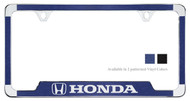 Honda Logo and Wordmark Chrome Plated License Plate Frame with Simulated Brushed Aluminum Vinyl Inlays