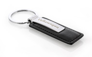 Volkswagen Wordmark Black Leather Key Chain With Satin Metal & Key Ring